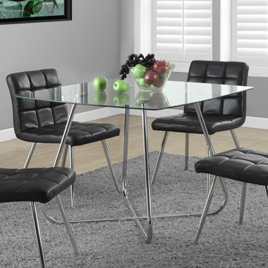 Modern Square Dining Table 40 x 40-inch with Tempered Glass Top ...