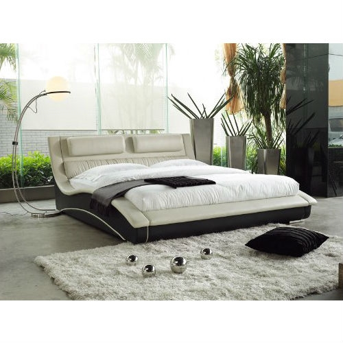 queen size modern curvy upholstered platform bed headboard cream black leather full or grey quee