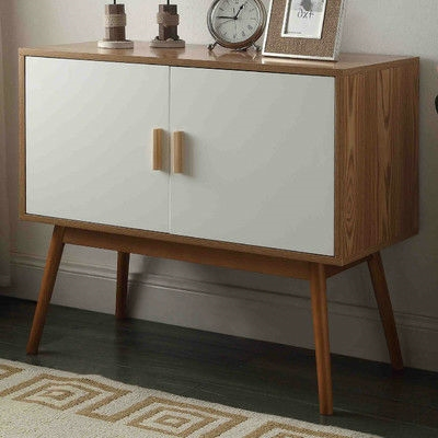 midcentury modern console table storage cabinet with solid wood legs