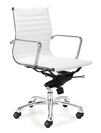 White Leather High Back Swivel Office Chair | LampsPlus.com