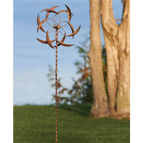 Copper Plated Metal Wind Spinner Stake For Outdoor Yard