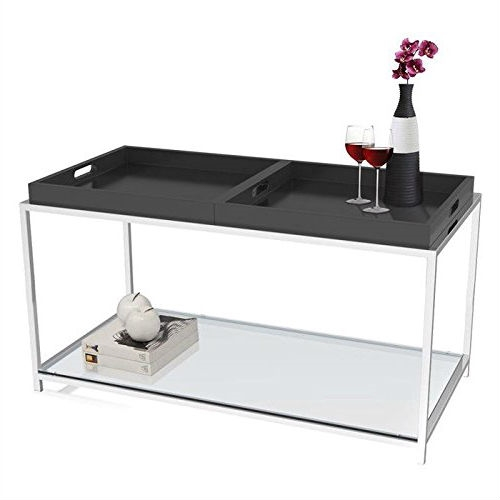 Letterpress Tray Coffee Table: Modern Metal Coffee Table With 2 Removable Trays In Black