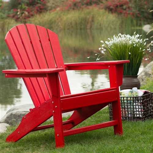 Outdoor Patio Seating Garden Adirondack Chair In Red Heavy