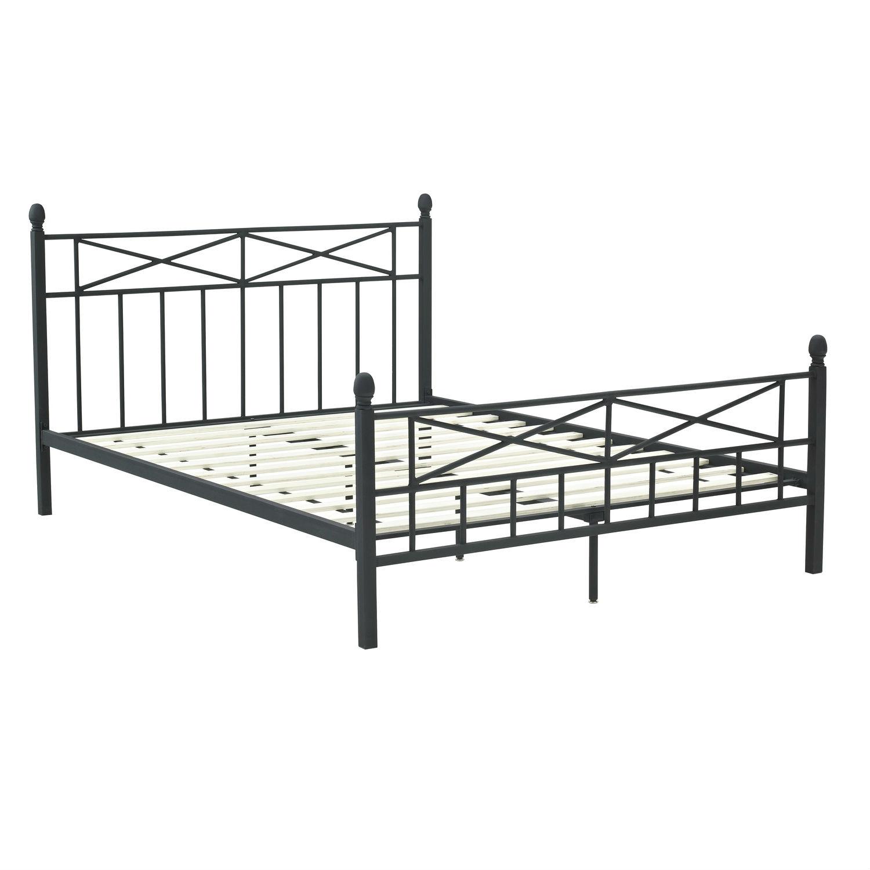 Full size matte black metal platform bed frame w headboard for Full size wood bed frame