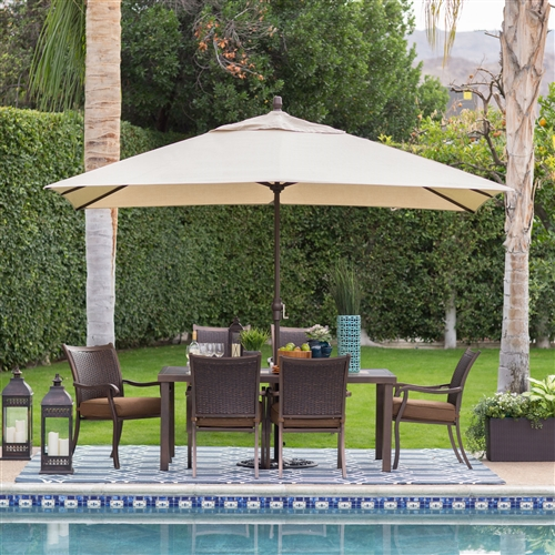 Rectangle 8 Ft X 11 Ft Patio Umbrella With Bronze Finish