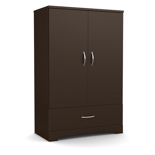 Contemporary 2 door armoire wardrobe cabinet with bottom for Chocolate brown cabinets