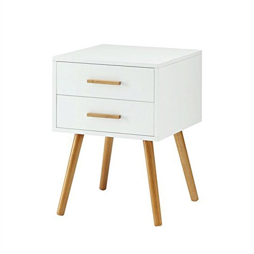Modern 2 Drawer End Table Nightstand In White With Mid