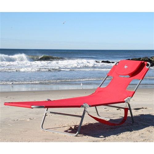 Red Chiase Lounge Beach Chair With Face Cavity And Arm Slots |  FastFurnishings.com