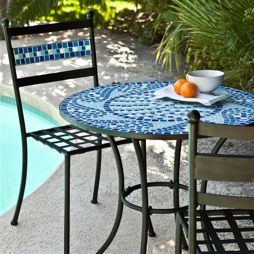 Outdoor 3 piece aqua blue mosaic tiles patio furniture bistro set - Basics mosaic tiles patios ...