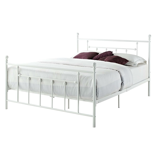 Full Size White Metal Platform Bed Frame With Headboard