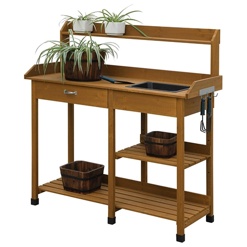 Modern Garden Potting Bench Table With Sink Storage Shelves Drawer
