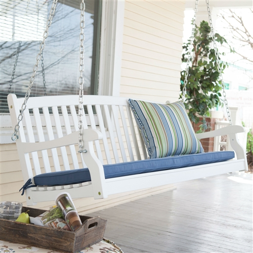 Outdoor Patio Deck 4 Ft Porch Swing In White Wood Finish