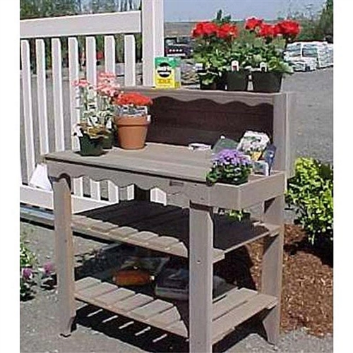 Outdoor Cedar Wood Potting Bench Bakers Rack Garden