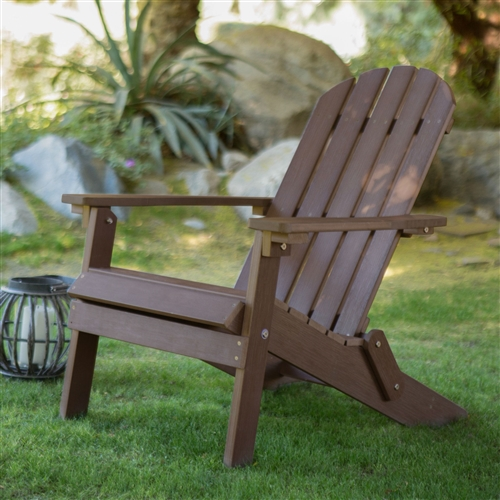 Weather resistant adirondack chair in chocolate brown recycle plastic resin - Brown resin adirondack chairs ...