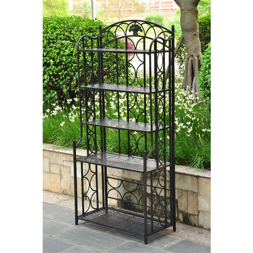 Indoor Outdoor Wrought Iron Metal Bakers Rack 5 Shelf