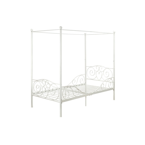 twin size white metal canopy bed with heart scroll design