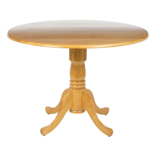 Round 42 inch drop leaf dining table in oak wood finish - Inch round dining table with leaf ...