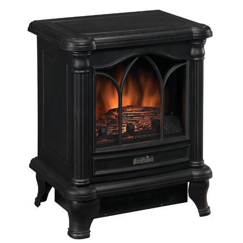 Black freestanding electric stove style fireplace space heater ebay - Stoves for small spaces gallery ...