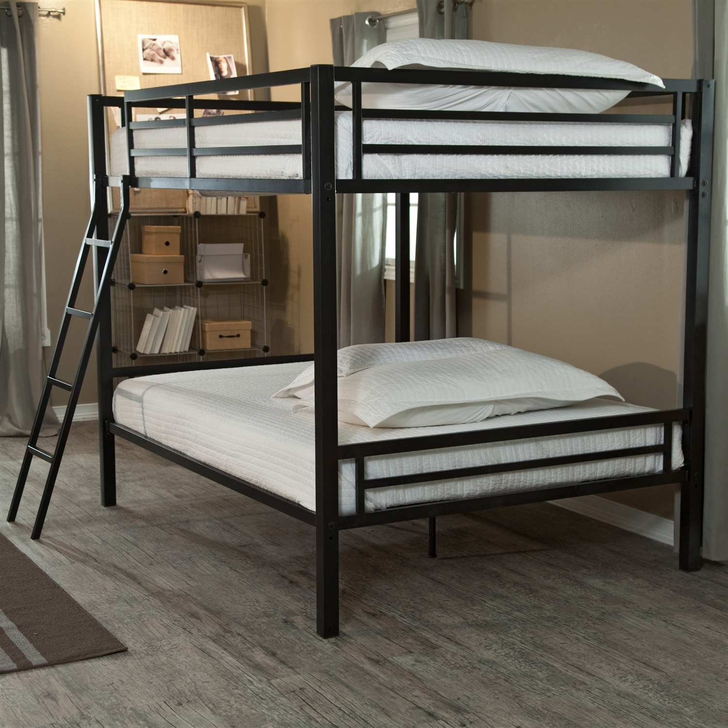 Modern full over full bunk bed with ladder in black metal Black bunk beds