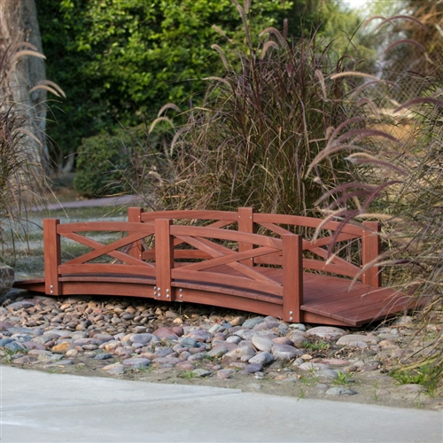 Sturdy 8 Ft Garden Bridge In Red Stained Acacia Wood With