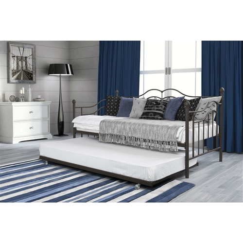 Twin Size Daybeds With Trundle Bed In Brushed Bronze Metal