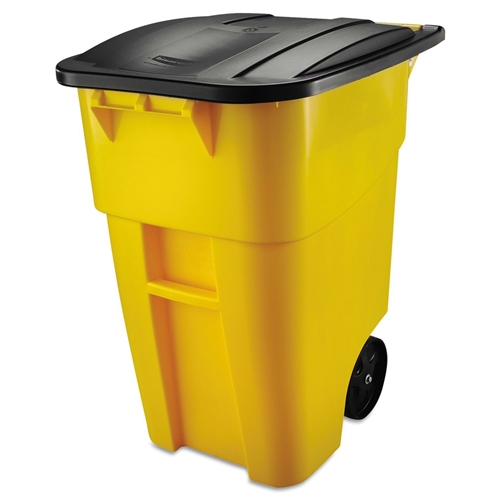 50 Gallon Yellow Commercial Heavy Duty Rollout Trash Can