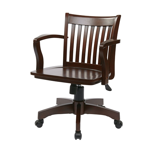 Kitchen Table Chair Covers Chairs Arms Wheels Also: Espresso Wood Bankers Chair With Wooden Arms And Seat