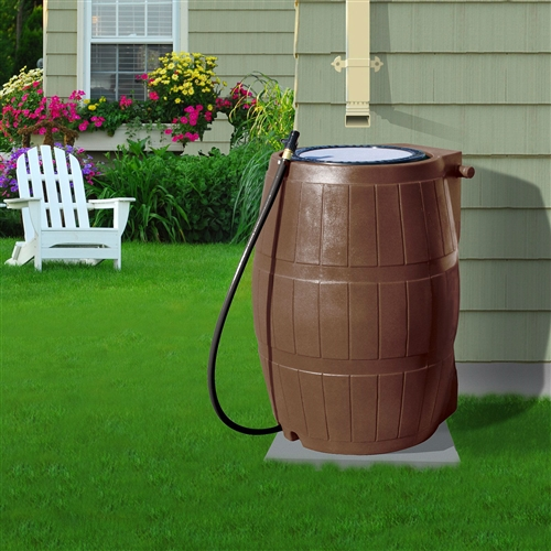 50 Gallon Brown Uv Resistant Plastic Rain Barrel With 3 Ft
