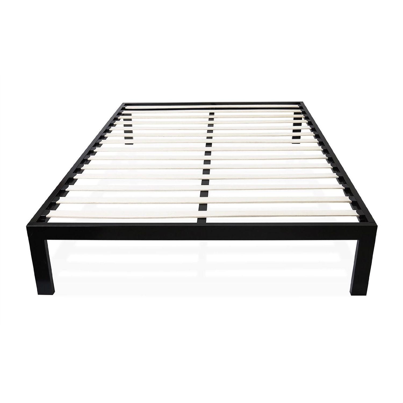 Full Size Simple Black Metal Bed Frame Platform With