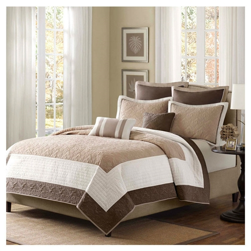 Full Queen Brown Ivory Tan Cream 7 Piece Quilt Coverlet