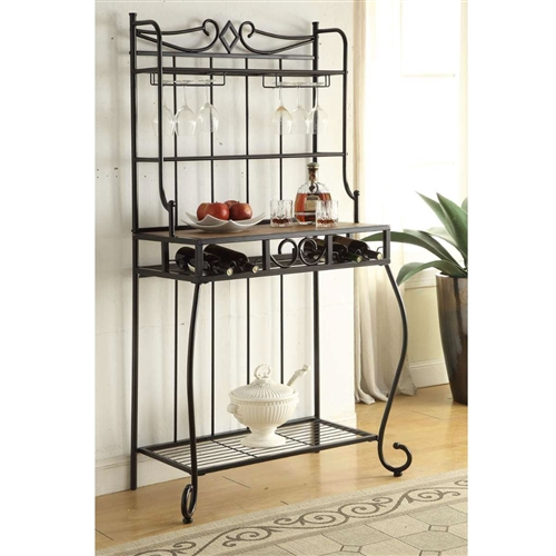 Black Metal Kitchen Bakers Rack With Wine Glass Holders