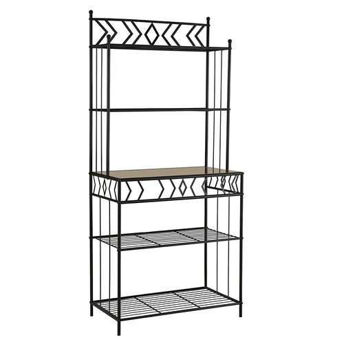 Kitchen Bakers Rack With Metal And Glass Shelves In Black