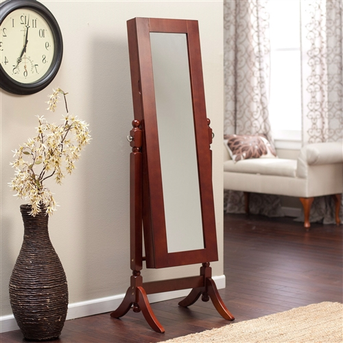 Full Length Tilting Cheval Mirror Jewelry Armoire In