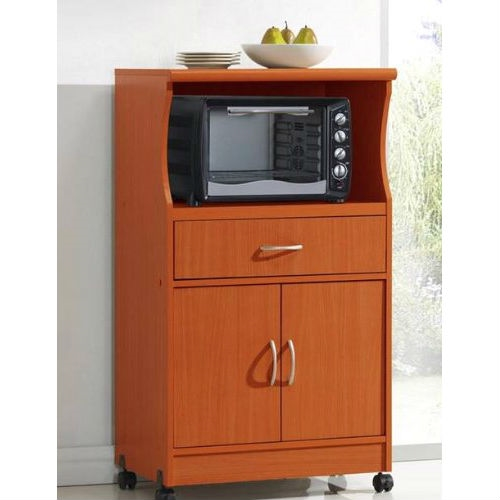 Kitchen Cabinet Ideas For Microwave: Mahogany Wood Finish Kitchen Cabinet Microwave Cart