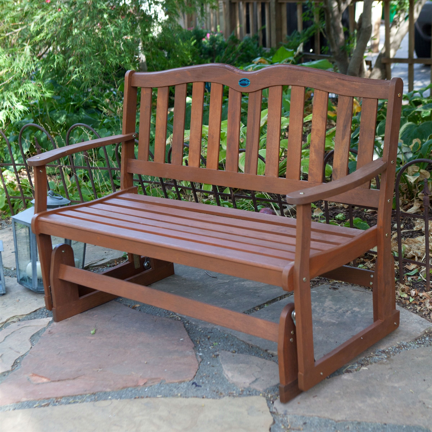 axondirect 4 ft outdoor patio garden love seat glider chair in natural eucalyptus wood