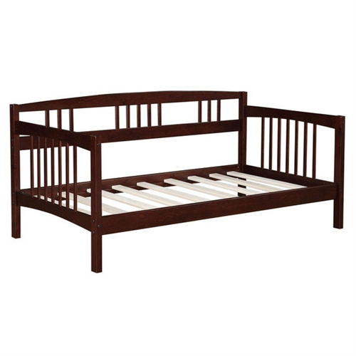 twin size solid wood day bed frame in espresso finish. Black Bedroom Furniture Sets. Home Design Ideas