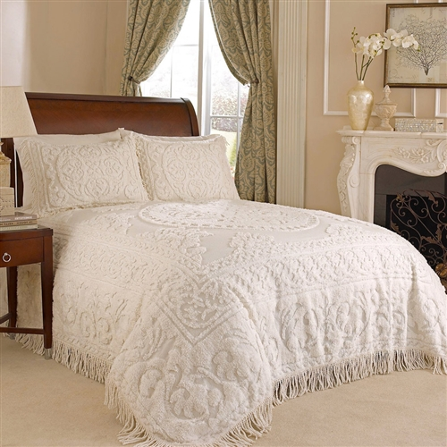 King Size 100 Cotton Chenille Bedspread In Ivory Ecru