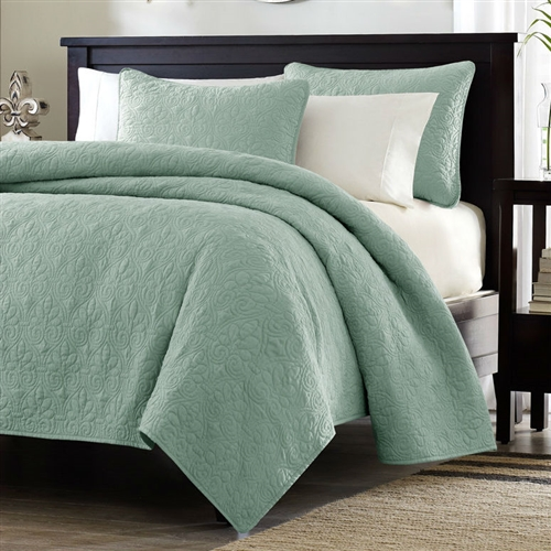King Size Seafoam Green Blue Coverlet Set With Quilted