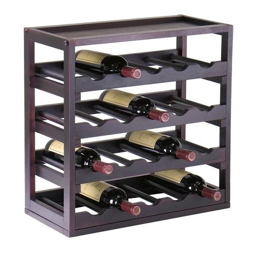 20 Bottle Wine Rack Stackable Modern Style In Espresso