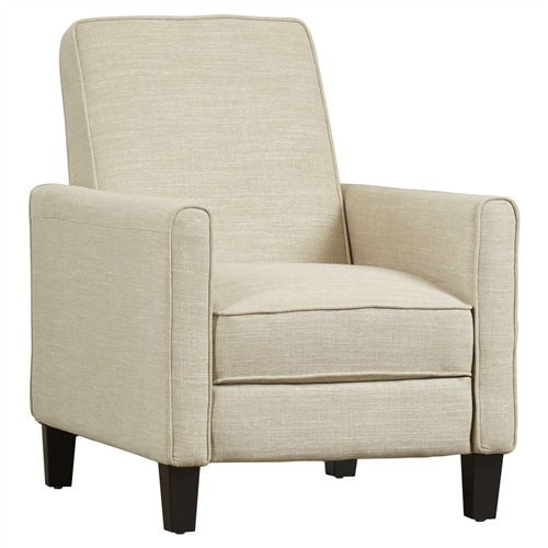 Club Chair Recliner Lounge In Light Beige Linen Upholstery