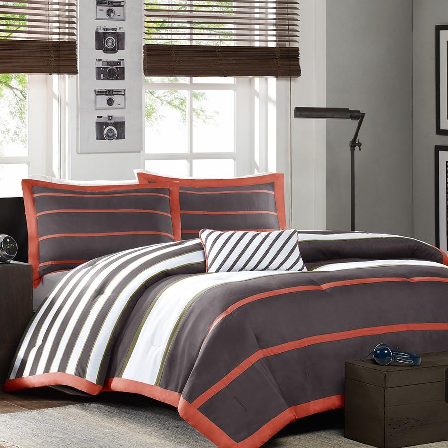 Twin twin xl comforter set in dark gray orange white - Orange and grey comforter ...