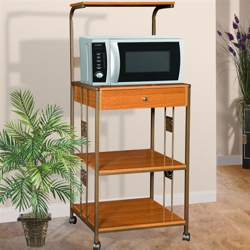 Steel And Wood Kitchen Utility Microwave Cart In Cherry