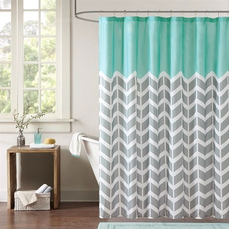 white and navy shower curtain. Teal Grey White Zig Zag Chevron Microfiber Shower Curtain