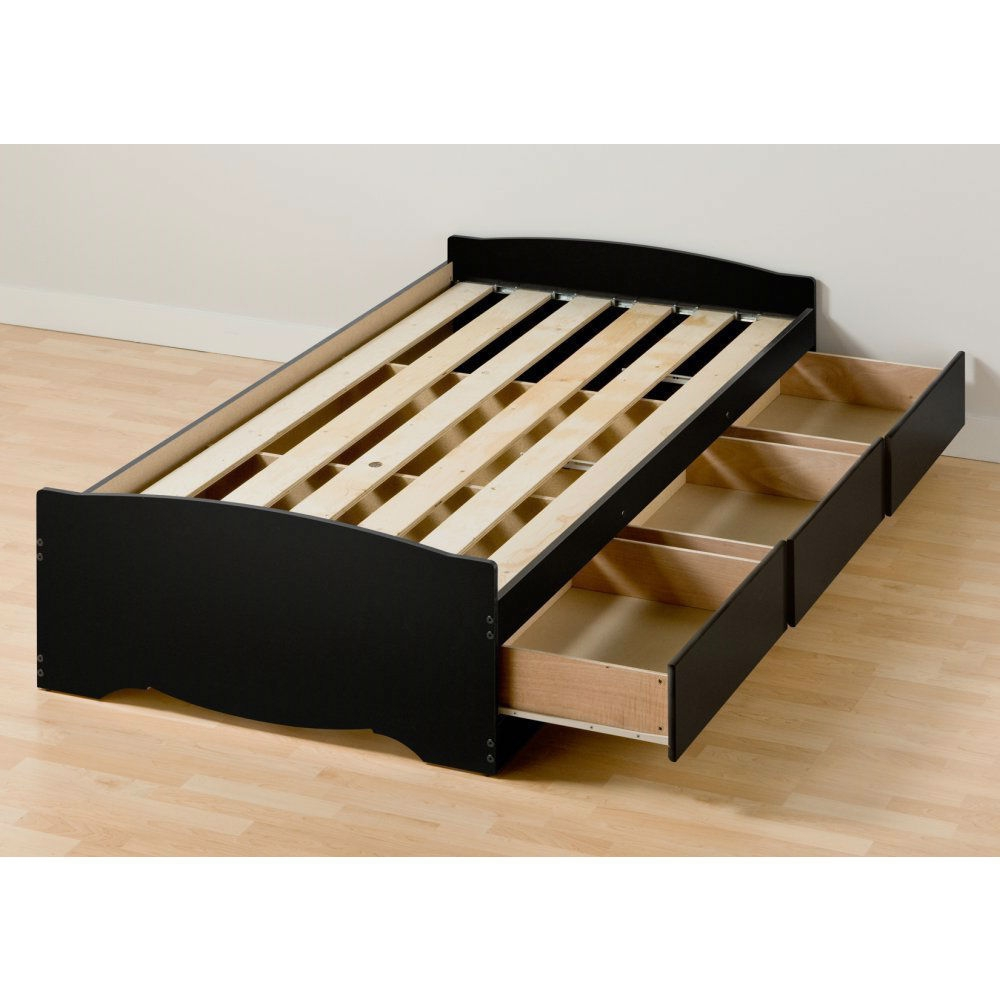 Twin xl platform bed frame with 3 storage drawers in black for Twin platform bed frame with drawers