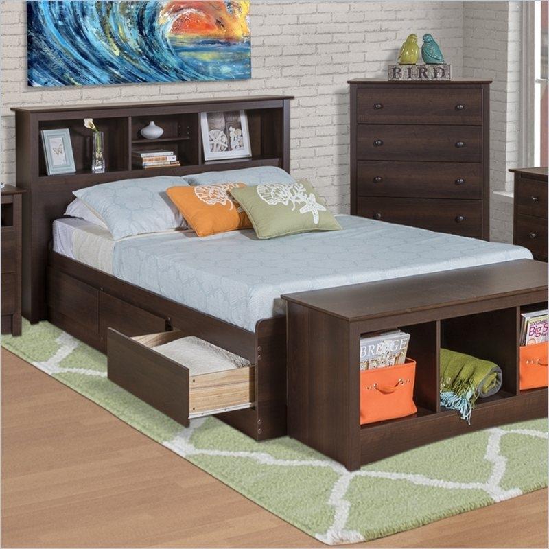 Twin Xl Espresso Brown Platform Bed W Headboard And