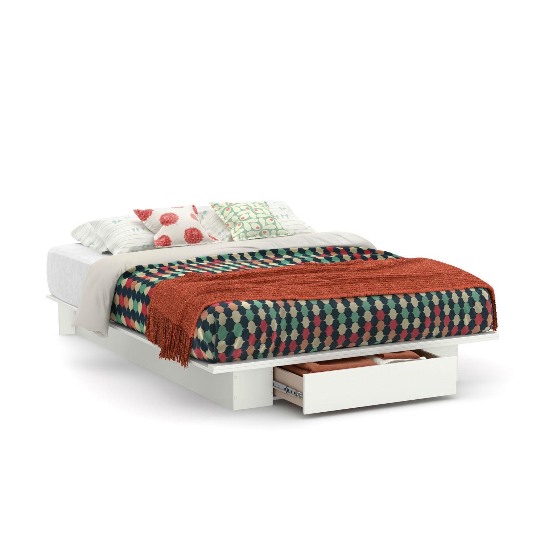 Queen size white modern platform bed frame with bottom storage drawer ebay - Modern storage beds with drawers ...