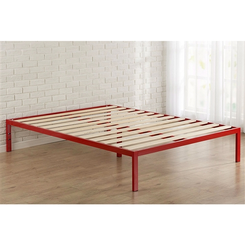 queen size 14 inch high modern platform bed with red metal frame and wood slats. Black Bedroom Furniture Sets. Home Design Ideas