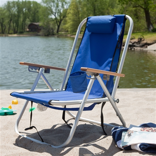 Royal Blue Beach Chair Recliner With Backpack Carrying