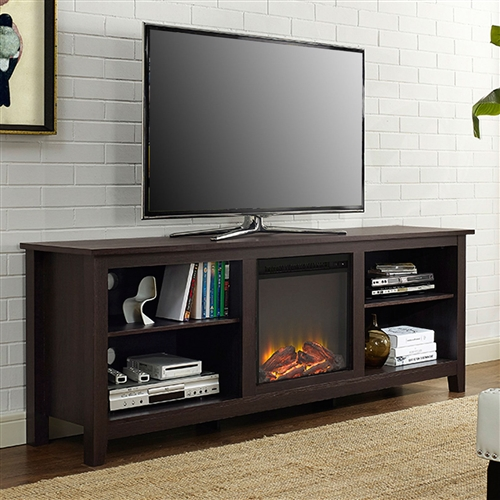 Espresso 70 Inch Electric Fireplace Tv Stand Space Heater