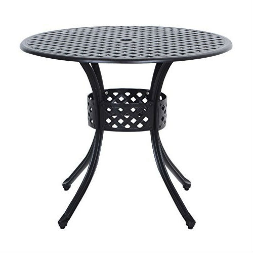Round Metal 36 Inch Outdoor Patio Table In Black Cast Aluminum